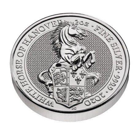 Srebrna Moneta Bestie Królowej: Biały Koń Hanoweru 2 uncje 24h