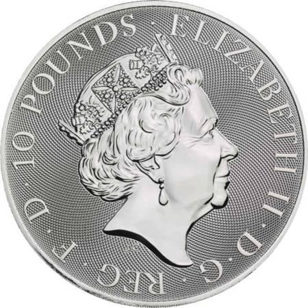 Srebrna Moneta Bestie Królowej: White Lion of Mortimer 10 uncji 24h