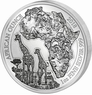 Srebrna Moneta Giraffe - African Ounce 1 uncja 2018r 24h