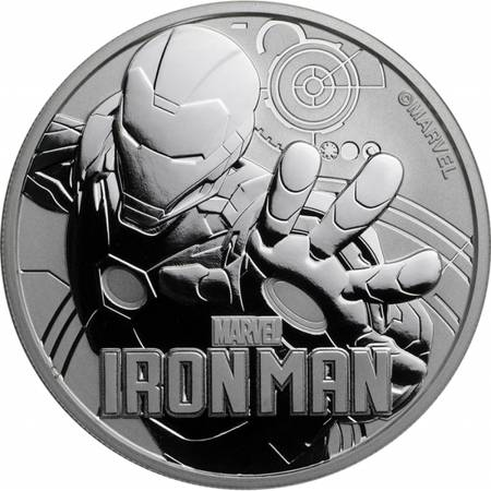 Srebrna Moneta Ironman - Marvel Series 1 uncja 24h