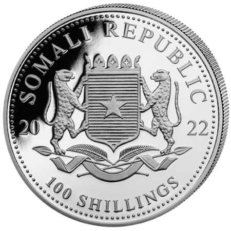 Srebrna Moneta Somalijski Słoń 1 uncja 2022r 24h