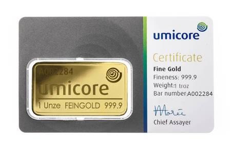Sztabka Złota CertiCard 1 uncja 24h