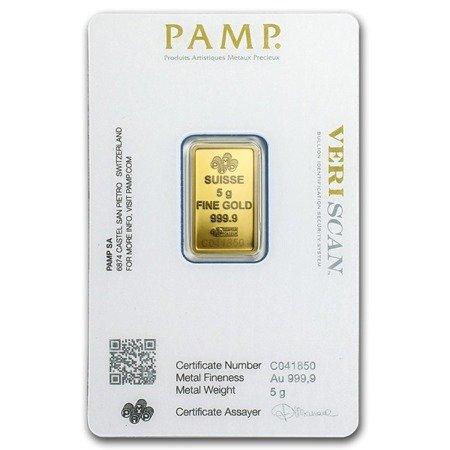 Sztabka Złota PAMP CertiCard 5g
